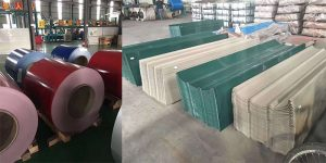 Color coated aluminum coil is made into roofing sheets.